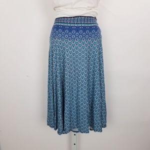Max Studio Elastic Print Midi Skirt XL Blue G7